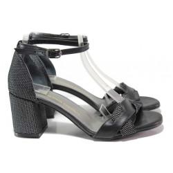 Ефектни дамски сандали със затворена пета, естествена кожа с велур, облечен ток / ФА 1186 черен