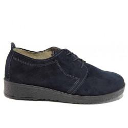 Анатомични дамски обувки, естествен велур, връзки, естествен кожен хастар и стелка / Ани 1702-Валя син