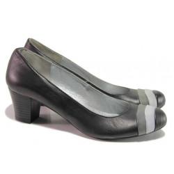 Анатомични дамски обувки с интересен дизайн, естествена кожа, среден ток / Ани 71500 черен