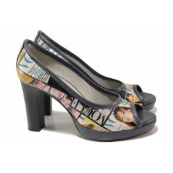 Стилни дамски обувки, естествена кожа с апликации, висок ток, платформа, отворени пръсти / Ани 41750 син вестник