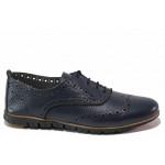 Равни дамски обувки, анатомични, естествена кожа, български, връзки / Ани ALEX-02 син