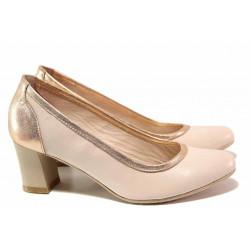 Елегантни дамски обувки, естествена кожа, стабилен среден ток / Ани 31500 розов