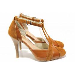 Елегантни обувки на висок ток, естествена кожа и лак, дамски, анатомични / Ани 51931 таба