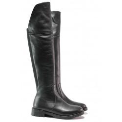 Дамски ботуши - тип чизми, естествена кожа, класически, атрактивен акцент към тоалета / Ани KANN-06 черен кожа