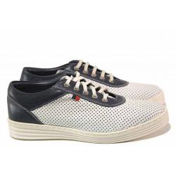 Равни дамски обувки, естествена кожа, перфорации, връзки, анатомични / Ани 2006 бял