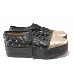 Спортни дамски обувки, естествена кожа, анатомични, платформа / Ани 1775 черен