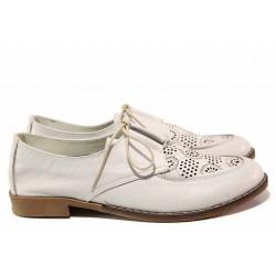Равни дамски обувки, летни, естествена кожа, перфорации, анатомични, български / Ани Ambro-02 лилав