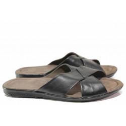 Комфортни мъжки чехли от естествена кожа, гъвкаво и олекотено ходило / Ани 241-2187 черен