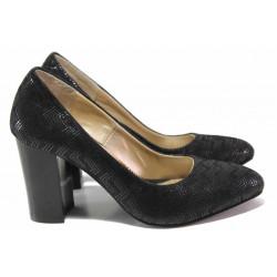 Български дамски обувки, естествен велур с релеф, висок ток / Ани 2341 черен