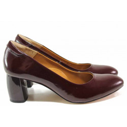 Елегантни дамски обувки ръчна изработка, естествена кожа-лак, висок ток / Ани 2566 бордо