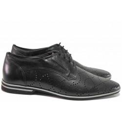 Стилни мъжки обувки, летни, естествена кожа с перфорации, леки, български, анатомични / Ани 1535 черен