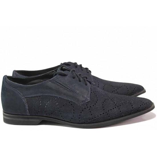 Модерни мъжки обувки, направени от естествен набук с перфорации, олекотени, български, анатомични / Ани 1535 т.син