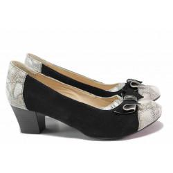 Стилни дамски обувки, естествен велур, среден ток, анатомични, български, змийски принт / Ани 53544 черен-бял