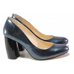Елегантни дамски обувки, естествена лачена кожа, анатомични, висок извит ток / Ани 2573 син лак