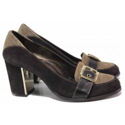 Класическа дамска обувка, декоративна катарама, естествен велур, облечен ток, анатомични / Ани 1892 кафяв-бежов