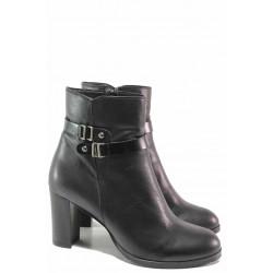 Елегантни дамски боти с декоративен елемент, естествена кожа, висок ток / Ани 53750 черен