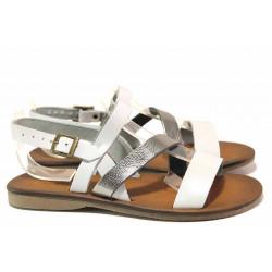Леки дамски сандали, равни, естествена кожа, пластично ходило / МИ 802 бял
