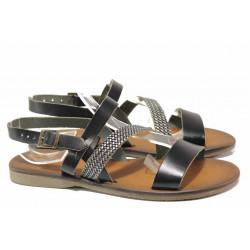 Дамски сандали, равни, естествена кожа, ефект - сребърна лента, леки / ТЯ 151 черен