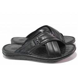 Анатомични мъжки чехли, естествена кожа, леки, шити и лепени ходила / ТЯ 102 черен
