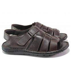 Анатомични мъжки сандали, естествена кожа, пластични ходила, леки / ТЯ 205 кафяв