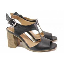 Стилни дамски сандали, естествена кожа, висок ток, анатомични, български / Ани 2694 черен