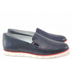 Анатомични дамски обувки с ластик, естествена кожа с декоративна перфорация / Ани 2323 син