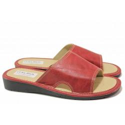 Дамски чехли, гъвкаво ходило, висококачествена еко-кожа, шити / КРИС 2016-11 червен