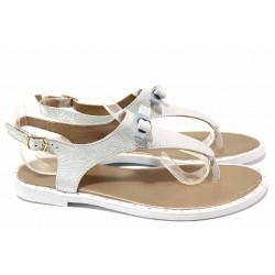 Български дамски сандали с лента между пръстите, естествена кожа, еластично ходило / Ани LIBERIKA-06 сребро-син