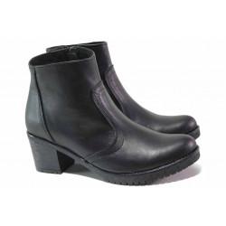 Комфортни кожени боти на среден ток, излято ходило, цип / НЛ 319-1611 черен