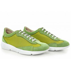 Спортни дамски обувки, български, естествен велур, текстил, свежи / МН Susana зелен