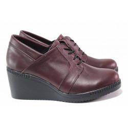 Дамски обувки на платформа, анатомични, български, естествена кожа, високи / НЛ 335-528 бордо