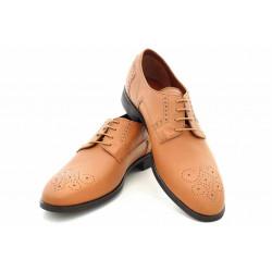 Стилни мъжки обувки, български, естествена кожа с декоративни перфорации / МН Lewis св.кафяв