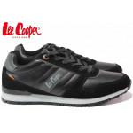 Класически мъжки маратонки, еко-кожа, гъвкави, връзки / Lee Cooper 202-08 черен