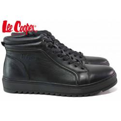 Високи мъжки кецове, топли, естествена кожа, боти, олекотени / Lee Cooper 20-33-101B черен