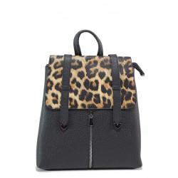 Практична дамска ежедневна раница с леопардов мотив / МИ 201 черен леопард / MES.BG