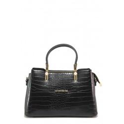 Компактна дамска чанта от еко-кожа с ''кроко'' мотив / МИ 448 черен / MES.BG