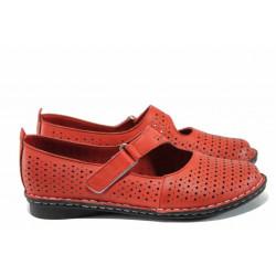 Анатомични дамски обувки от естествена кожа МИ 730 червен   Равни дамски обувки