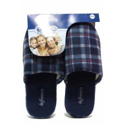 Карирани домашни чехли, анатомични, мъжки, меки / Defonseca ROMA TOP M720 син каре