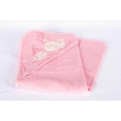 Бебешка хавлия розова на рибки и сърчица