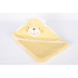 Бебешка хавлия жълта мече с уши