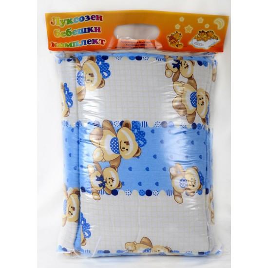 100% Памук Бебешки спален комплект Син Мечо