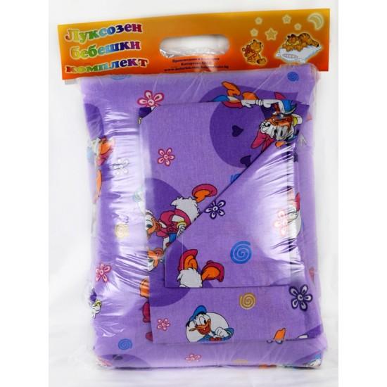 100% Памук Бебешки спален комплект Доналд Дък Лилав