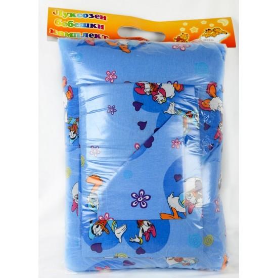 100% Памук Бебешки спален комплект Доналд Дък Син