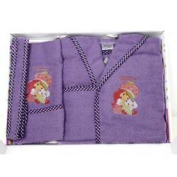 Комплект бебешки халат , хавлия и кисе с момиченце