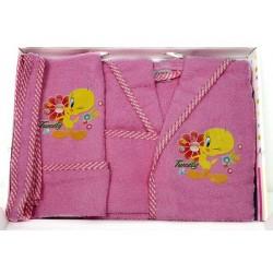 Комплект бебешки халат , хавлия и кисе TWEETY
