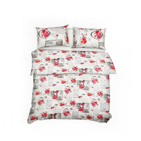 Спално бельо 100% Памук ЧАКАМ ПОЩА червено