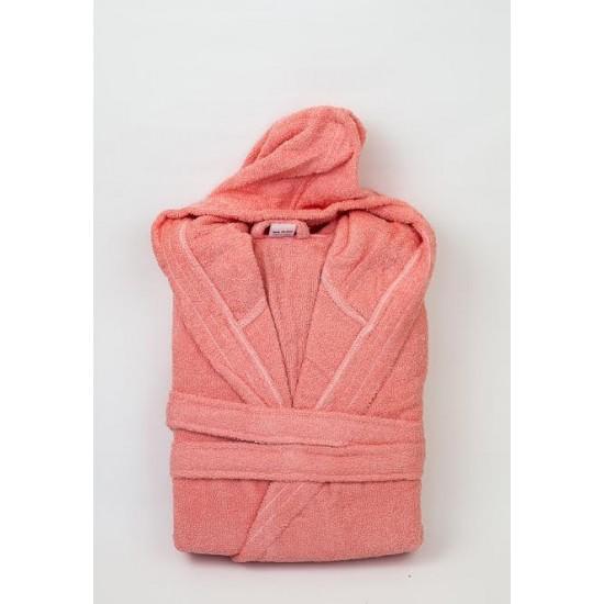 Едноцветен хавлиен халат с качулка