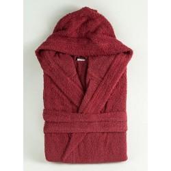 Плътен хавлиен халат с качулка Бордо