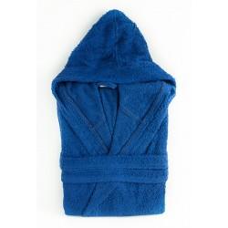 Плътен хавлиен халат с качулка Синьо