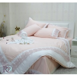 Луксозно спално бельо с дантела СИСИ праскова